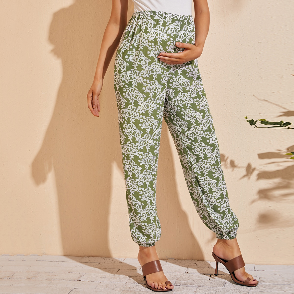 Maternity Allover Floral Print Pocket Side Pants, SHEIN  - buy with discount