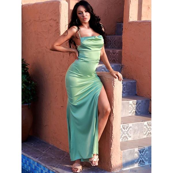 Crisscross Tied Backless Split Thigh Satin Cami Prom Dress, Lime green