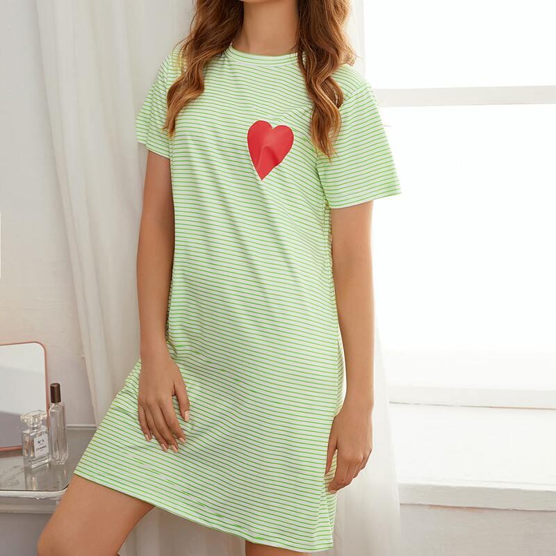 Heart & Striped Print Nightdress, Green pastel