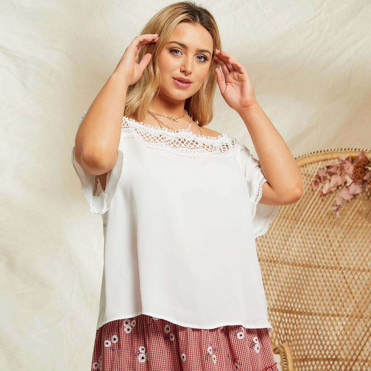 Контрастные кружева Одноцветный Бохо Блузы размер плюс по цене 630