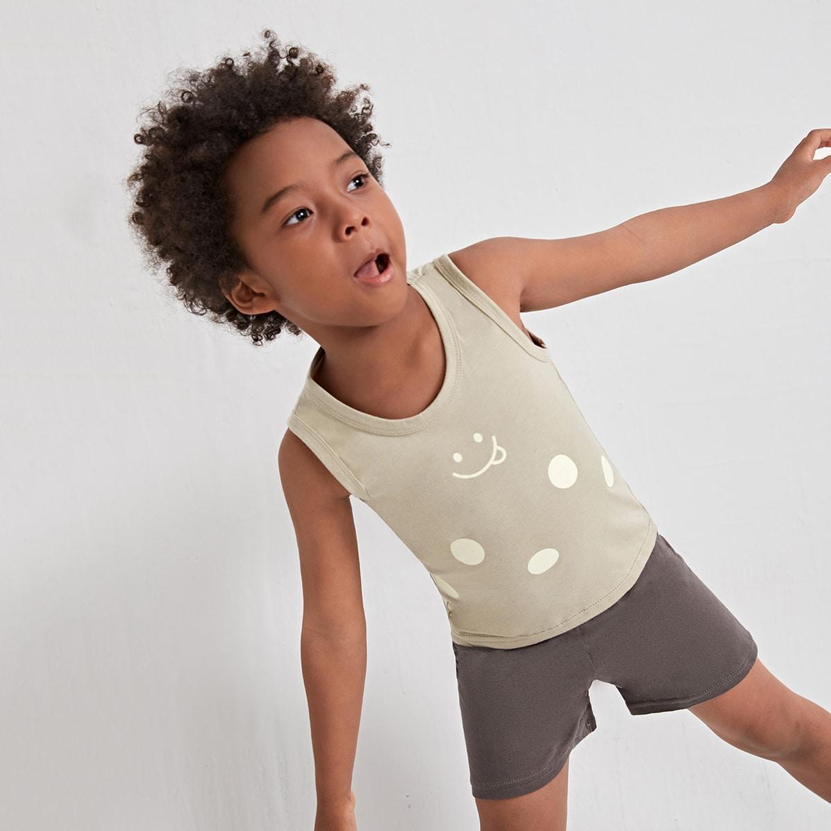 Пижама в горошек с мультипликационным принтом для мальчиков