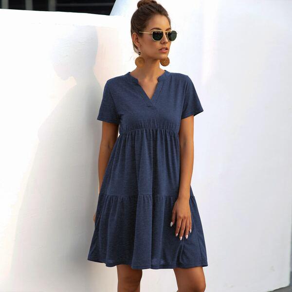 Solid Notched Neck Babydoll Dress, Navy blue