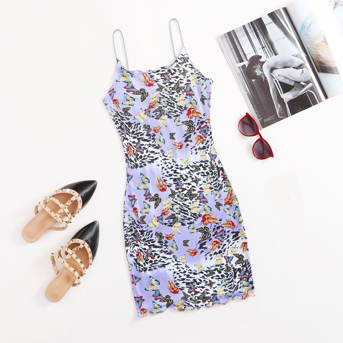 Облегающее платье в полоску тигра с принтом бабочки по цене 288