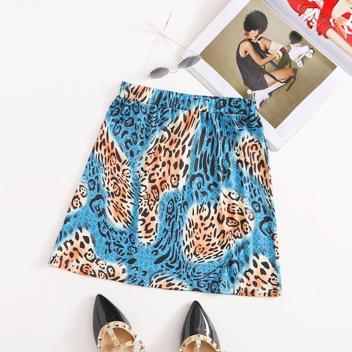 Мини-юбка с леопардовым принтом по цене 300