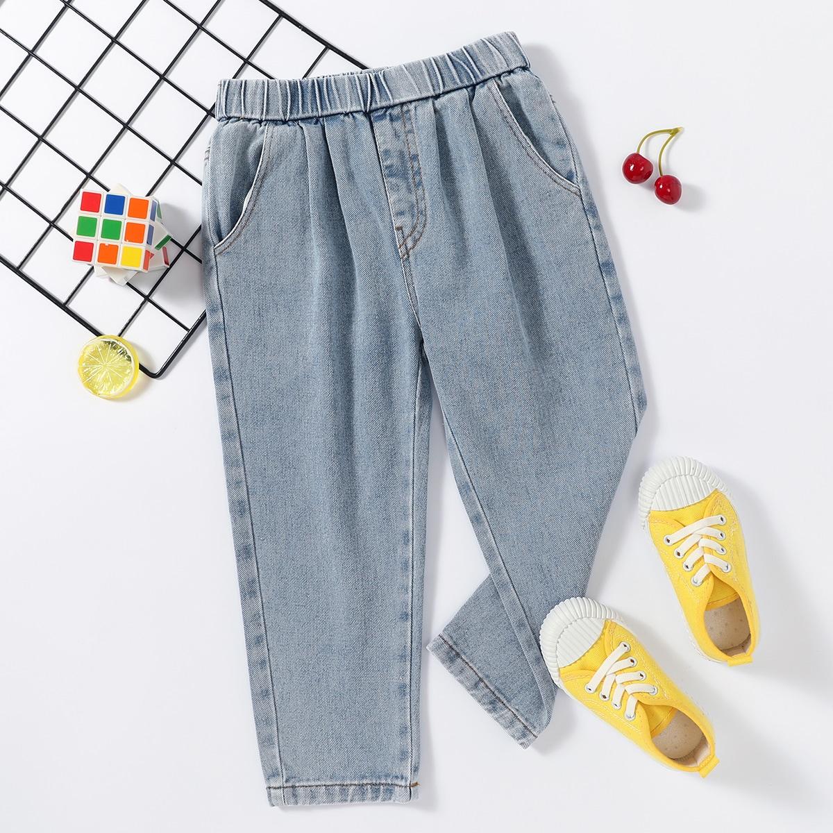 Однотонные джинсы с карманом для мальчиков