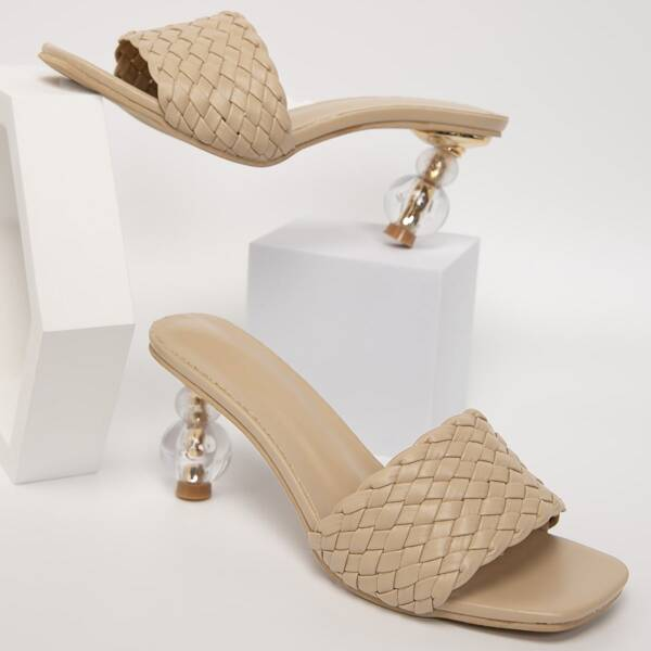 Braided Band Sculptural Heeled Mule Sandals, Apricot