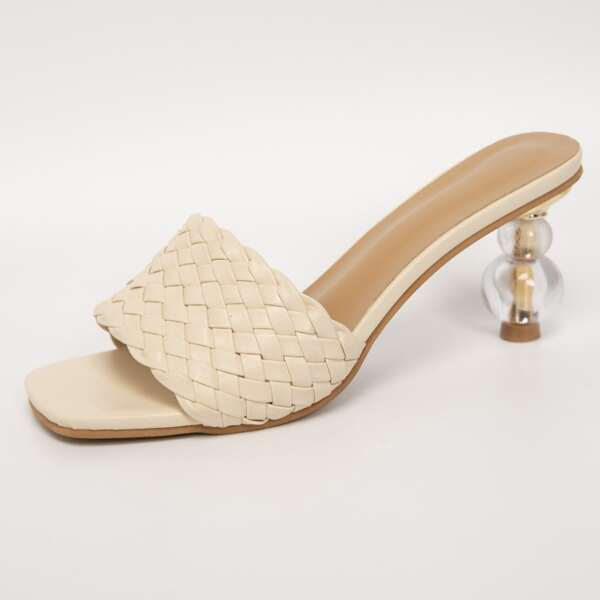 Braided Band Sculptural Heeled Mule Sandals, Beige