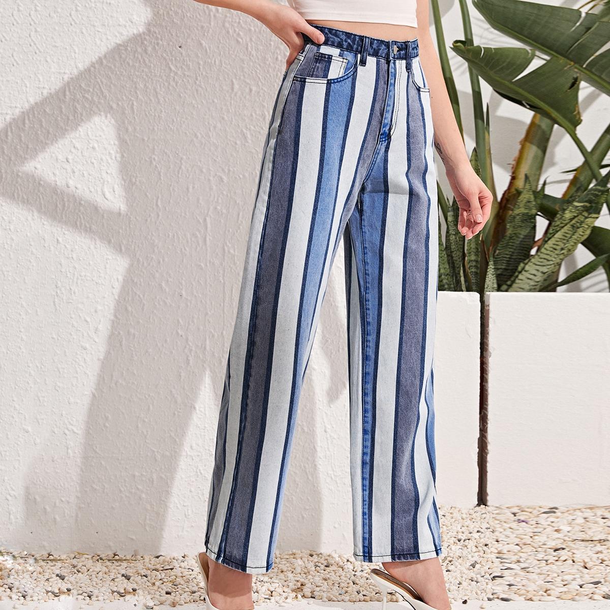 High Waist Slant Pocket Striped Jeans, SHEIN  - buy with discount