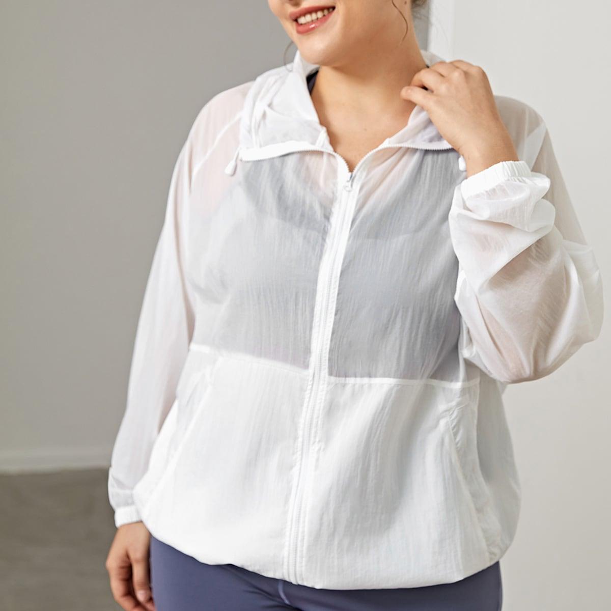 Спортивная куртка размера плюс с капюшоном и рукавом реглан по цене 920