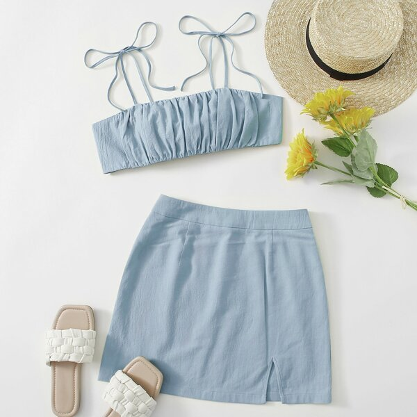 Knot Shoulder Tie Back Ruched Bust Crop Cami Top & Split Hem Skirt Set, Baby blue