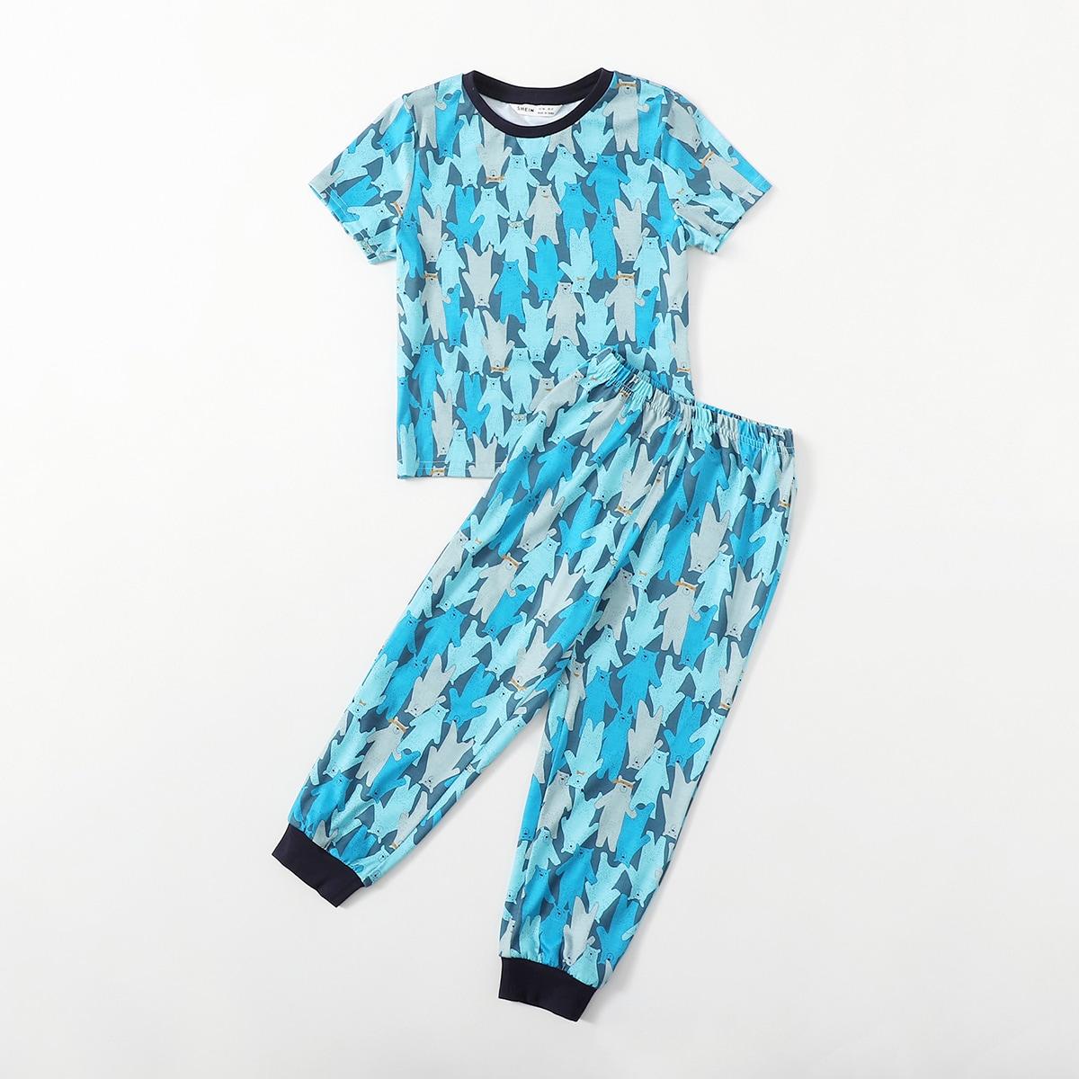 Пижама с контрасным воротником и принтом