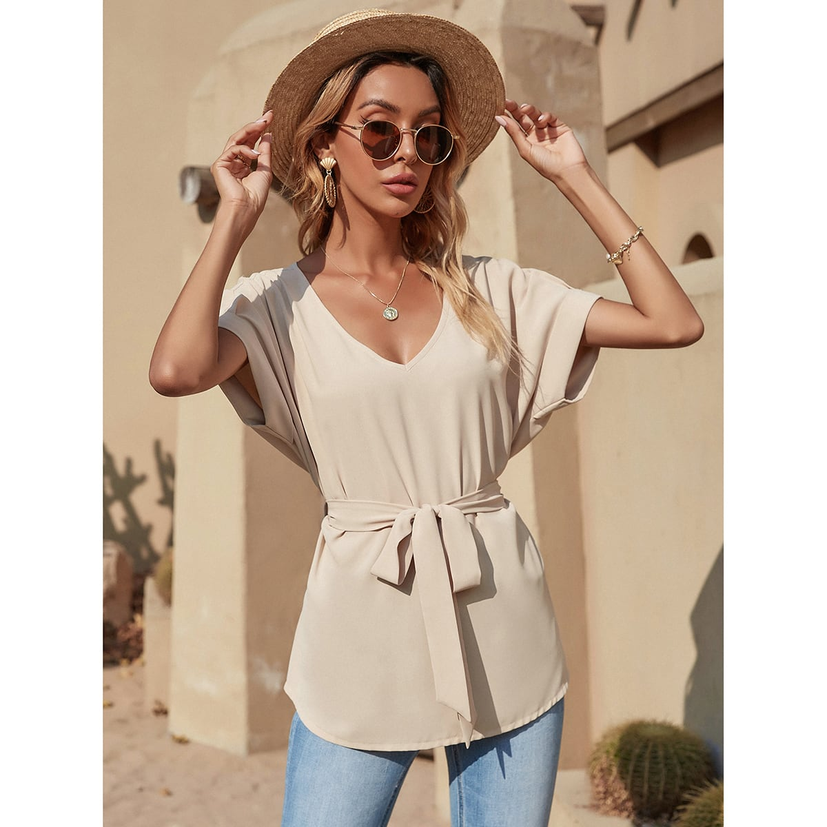 Solid V Neck Belted Blouse, SHEIN  - buy with discount