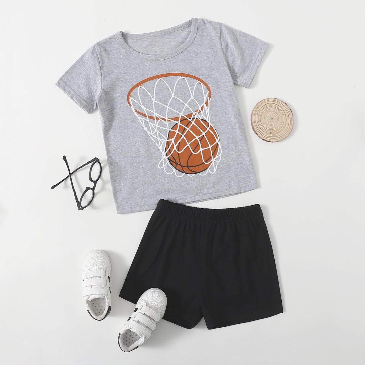 Шорты и футболка с принтом баскетбола для мальчиков