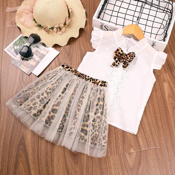 Toddler Girls Bow Front Schiffy Blouse& Mesh Overlay Leopard Skirt, Multicolor