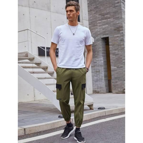 Men Contrast Flap Detail Drawstring Waist Utility Pants, Army green