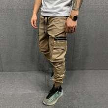 Guys Flap Pockets Drawstring Cargo Pants