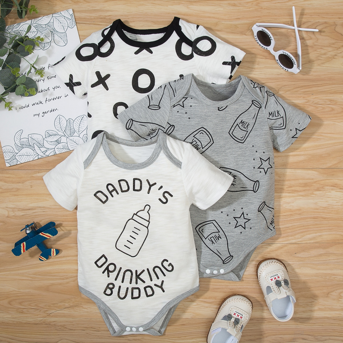 Baby Boy 3 Pack Star And Slogan Graphic Bodysuit Set