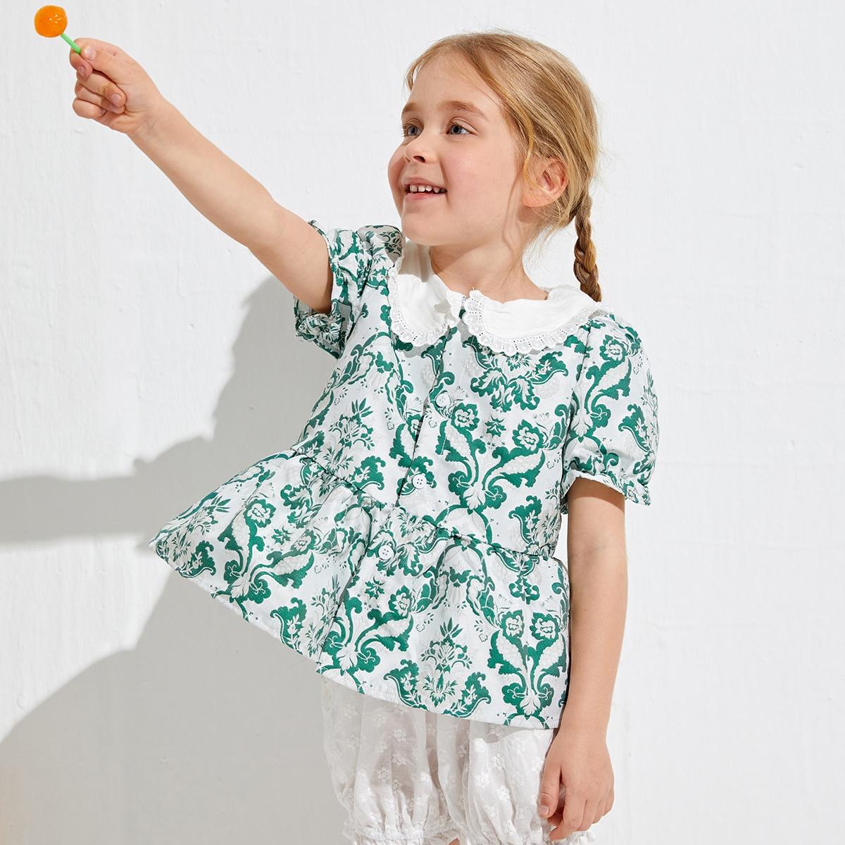 Toddler Girls Contrast Peter-pan Collar Damask Jacquard Peplum Top