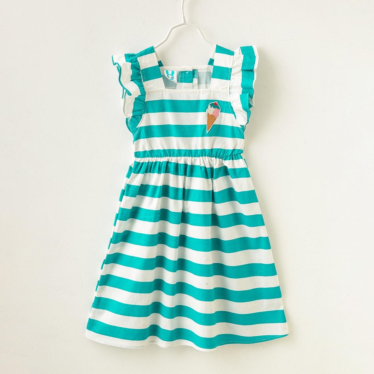 A-Linie Kleid mit Streifen und Rüschenbesatz