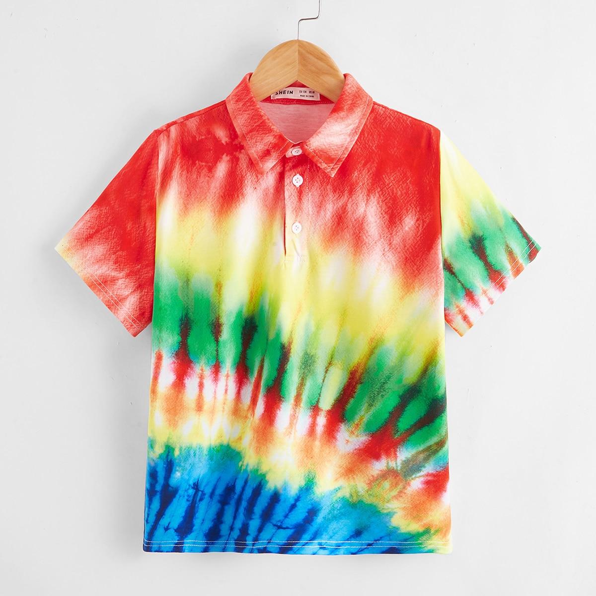 Рубашка-поло с принтом тай дай для мальчиков