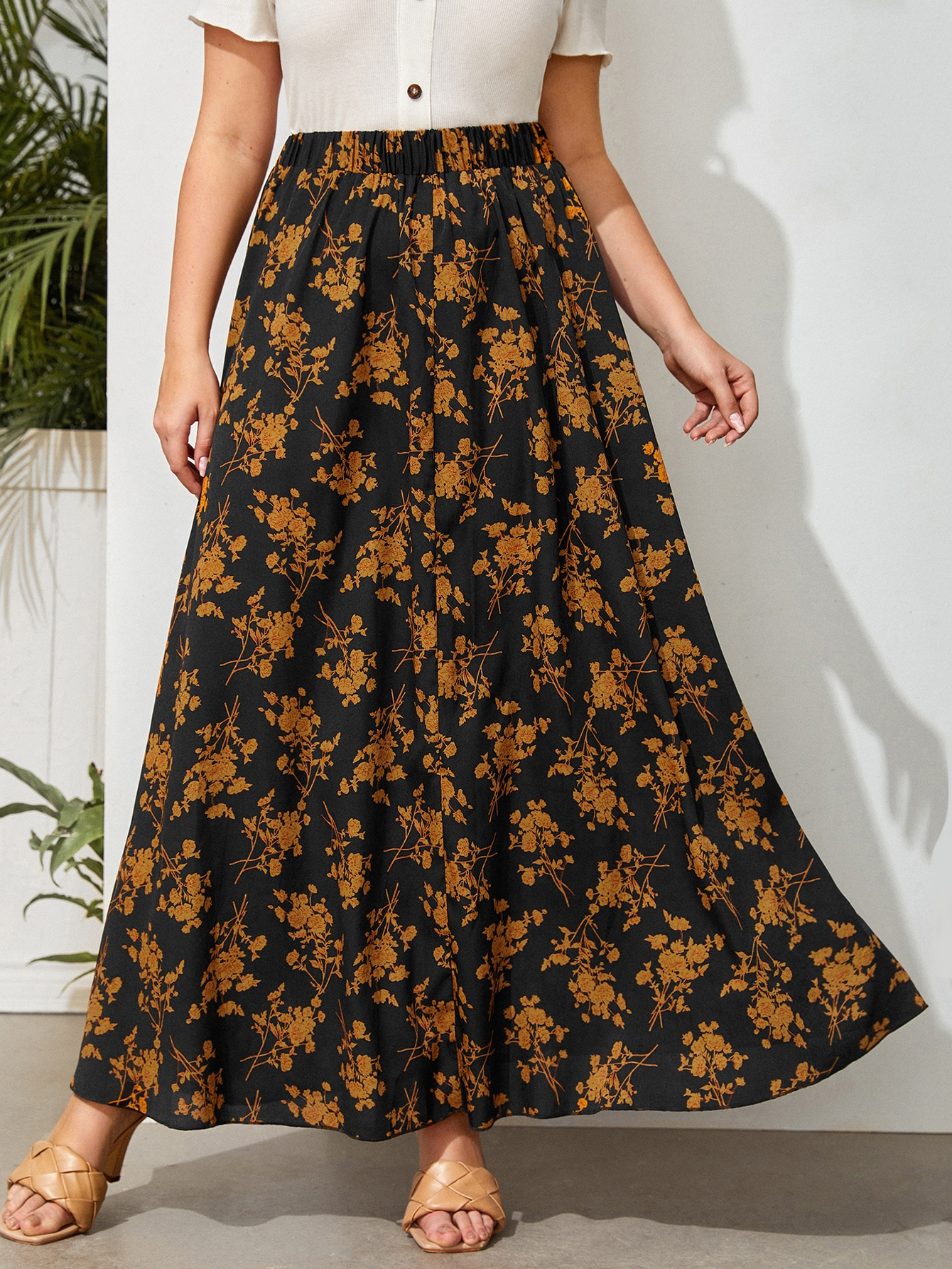 Plus Allover Floral Maxi Skirt