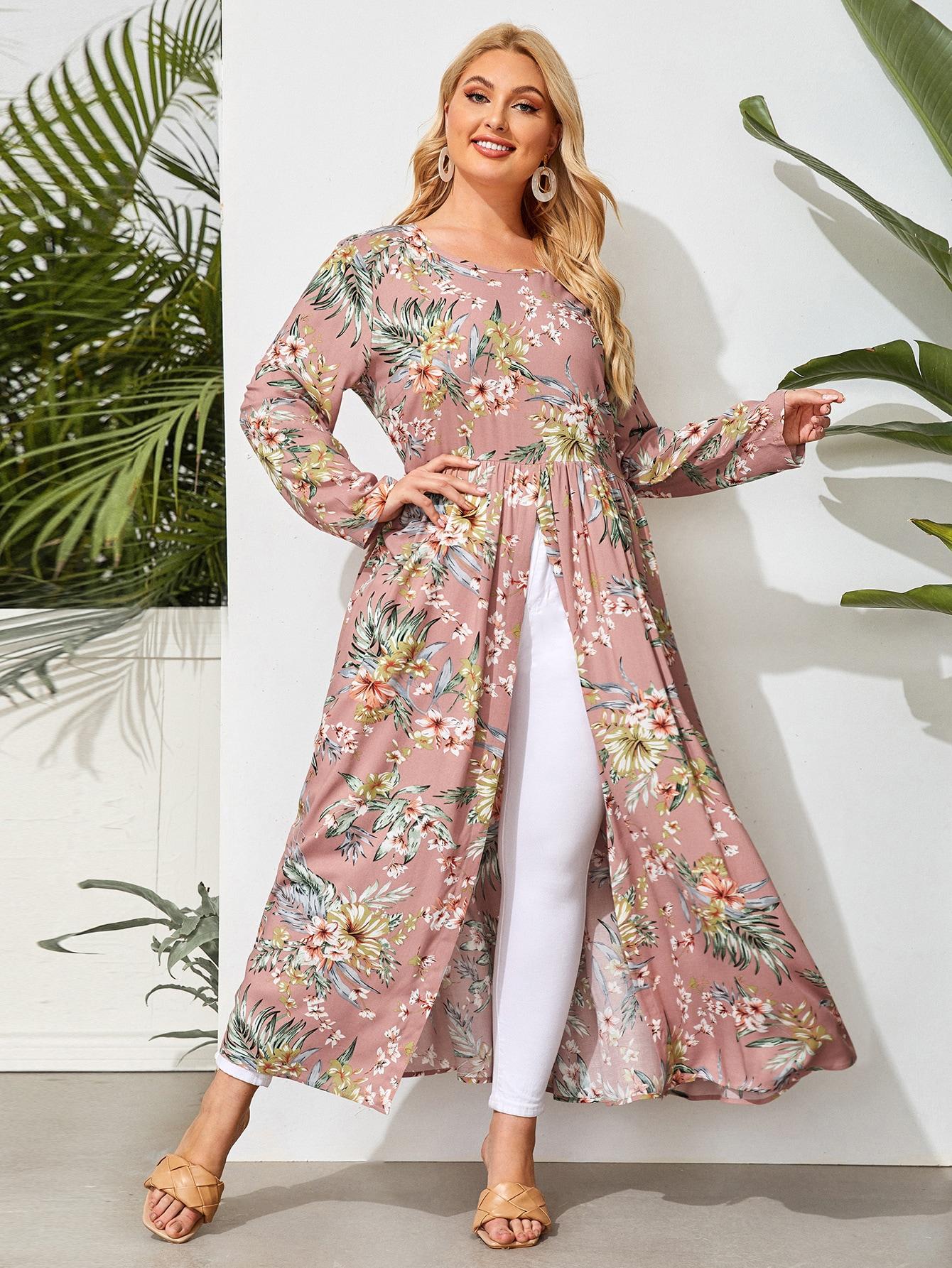 Plus All Over Floral Print Split Hem Longline Blouse