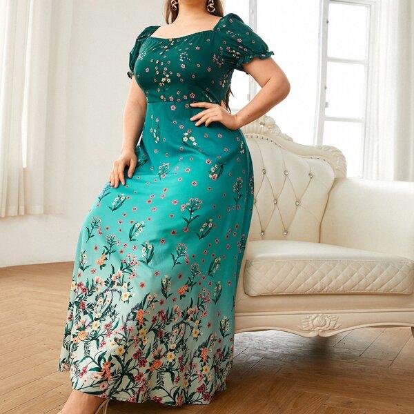 Платье размера плюс с цветочным принтом и эффектом омбре, Многоцветный