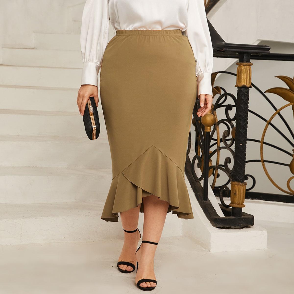 Plus Ruffle Hem Asymmetrical Skirt