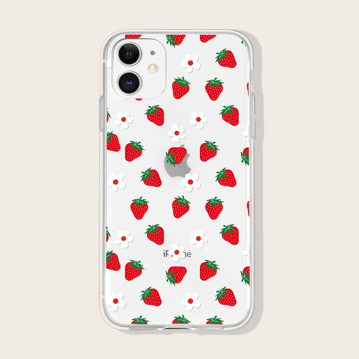 Strawberry Print Clear Phone Case