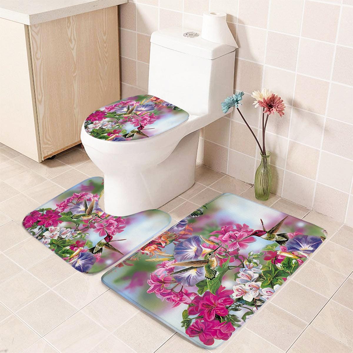 1 Stück Closestool Teppich mit Blumen Muster