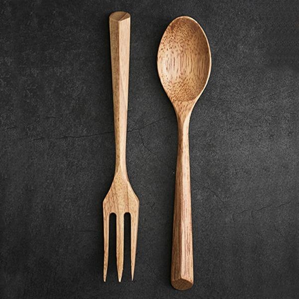2pcs Wooden Spoon & Fork Set, Khaki