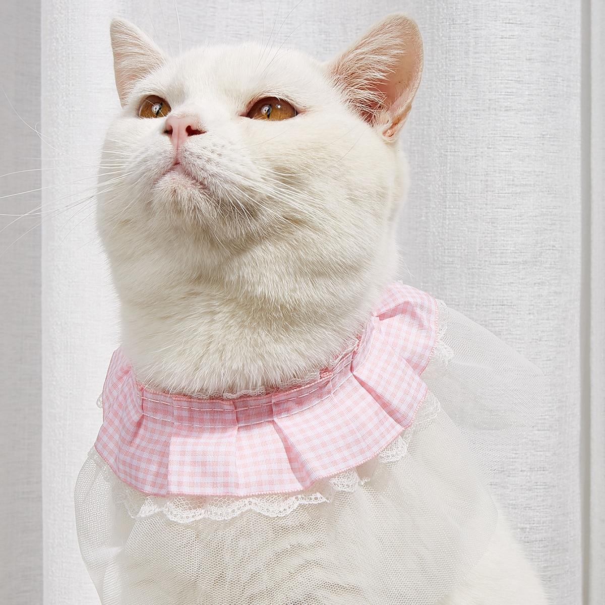 Gingham Pattern Lace Pet Bandana