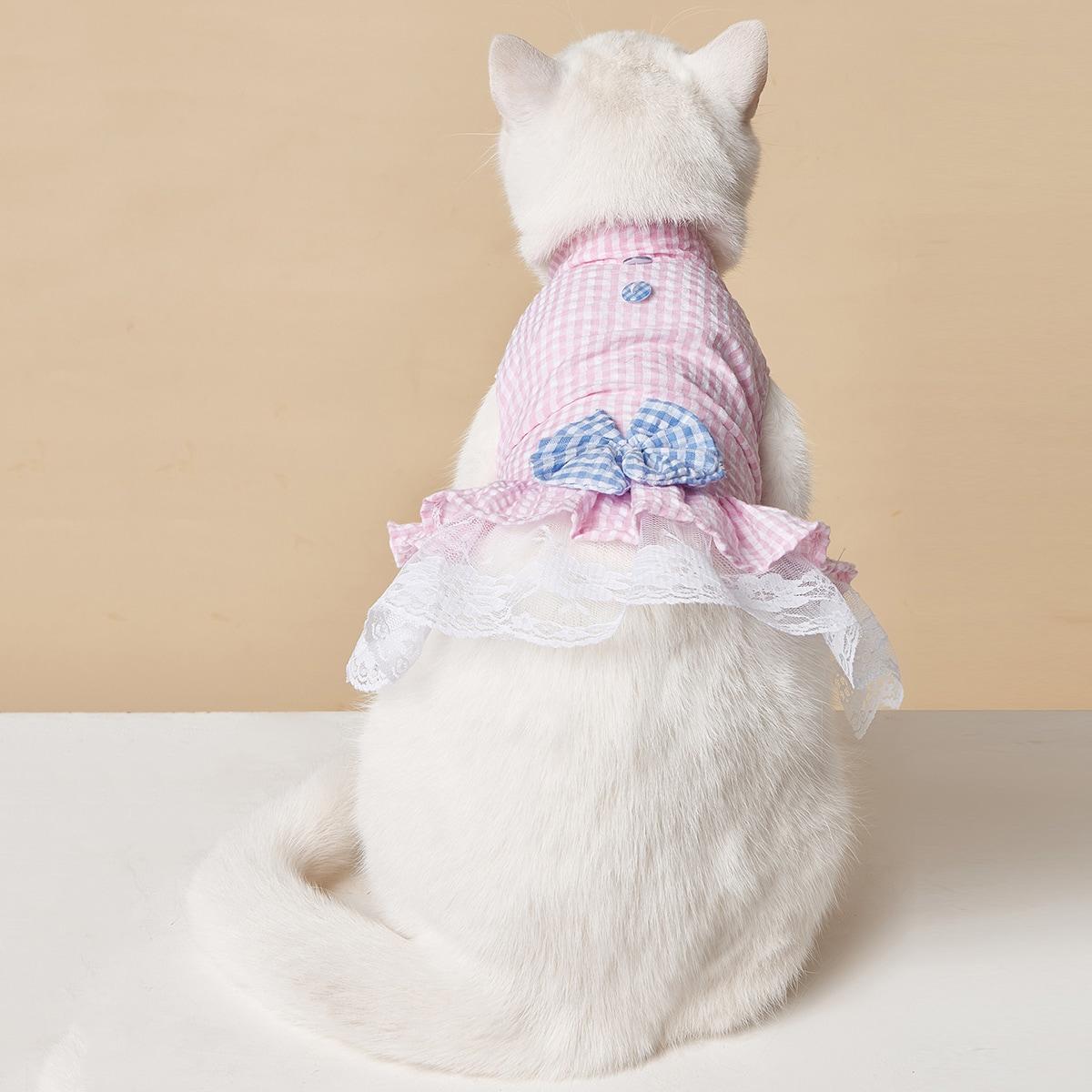 Bow Decor Plaid Pet Dress
