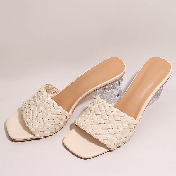 Braided Clear Sculptural Heeled Mule Sandals, Beige