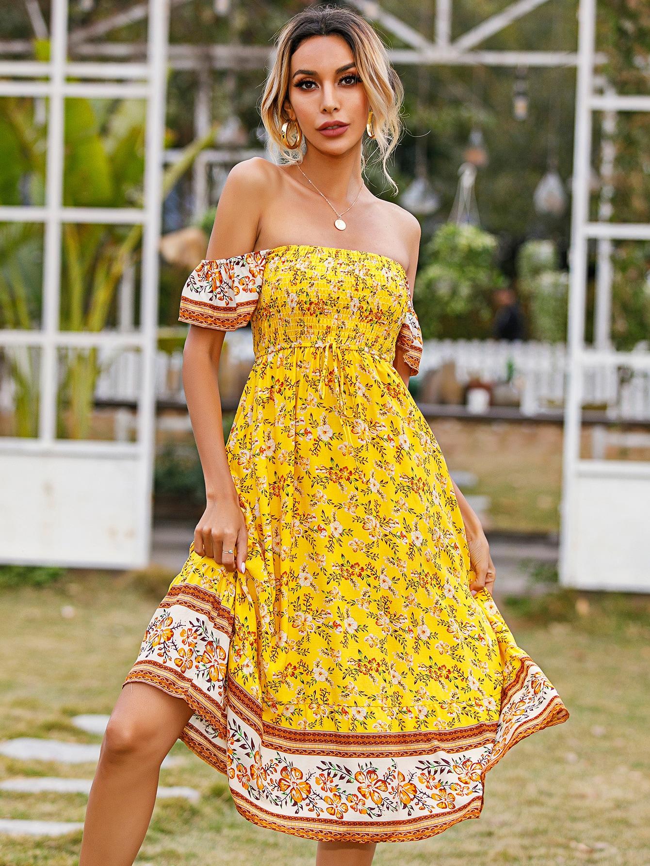 off shoulder shirred bodice allover floral dress