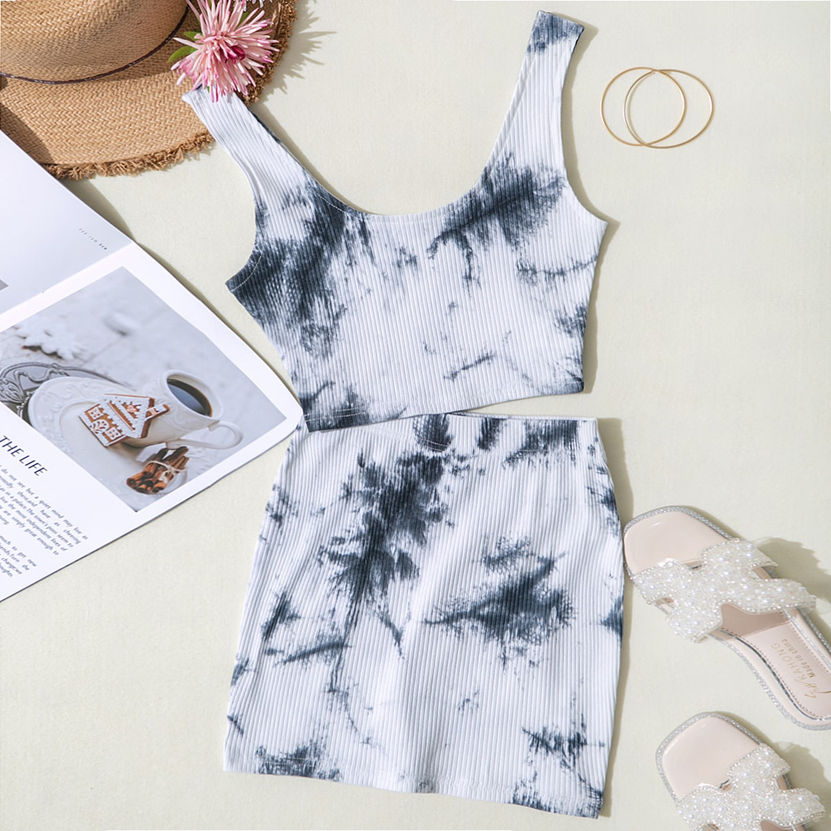 Tie Dye Tank Top & Skirt Set, SHEIN  - buy with discount