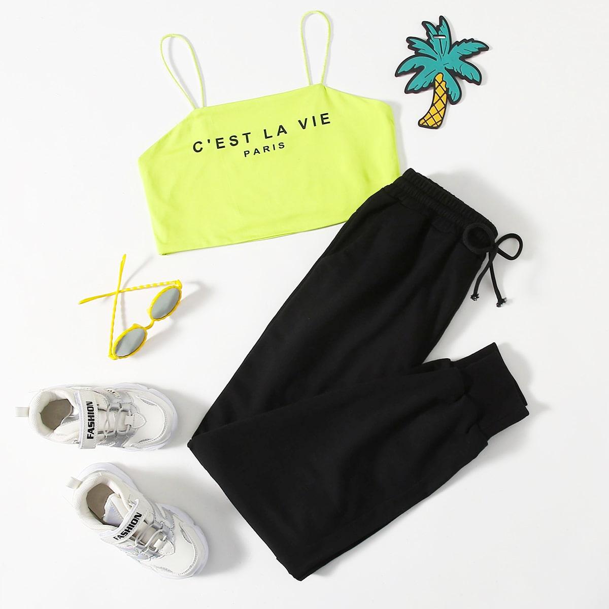 Mädchen Cami Crop Top mit Buchstaben Grafik & Jogginghose Set