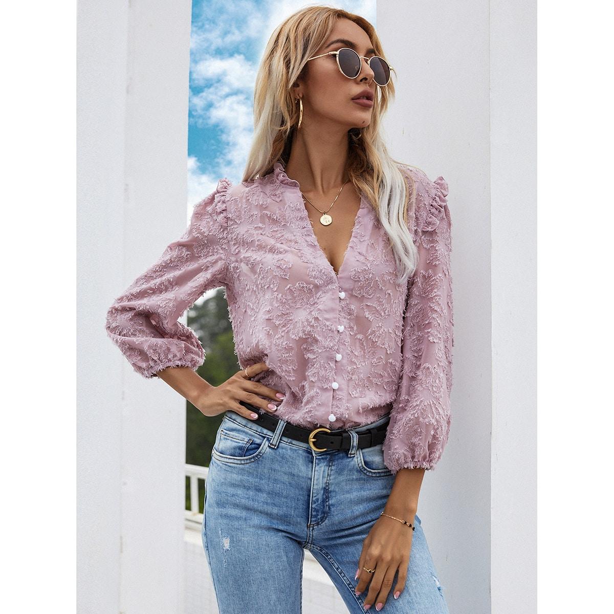 Оборка Одноцветный Повседневный Блузы по цене 950