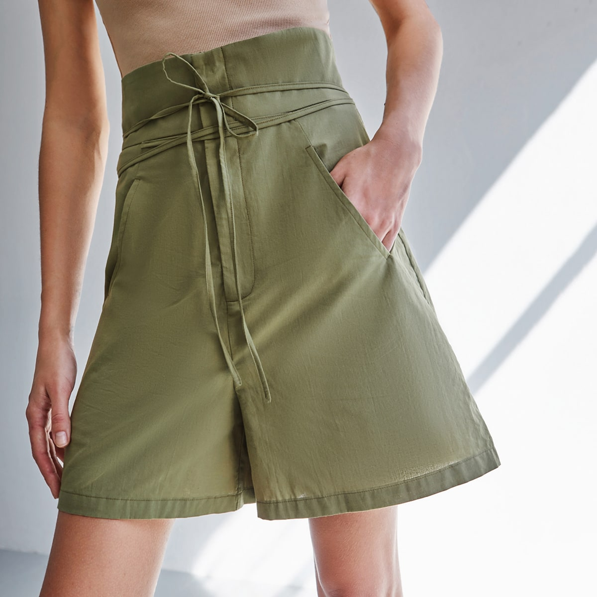 Belted Wide Leg Shorts, SHEIN  - buy with discount