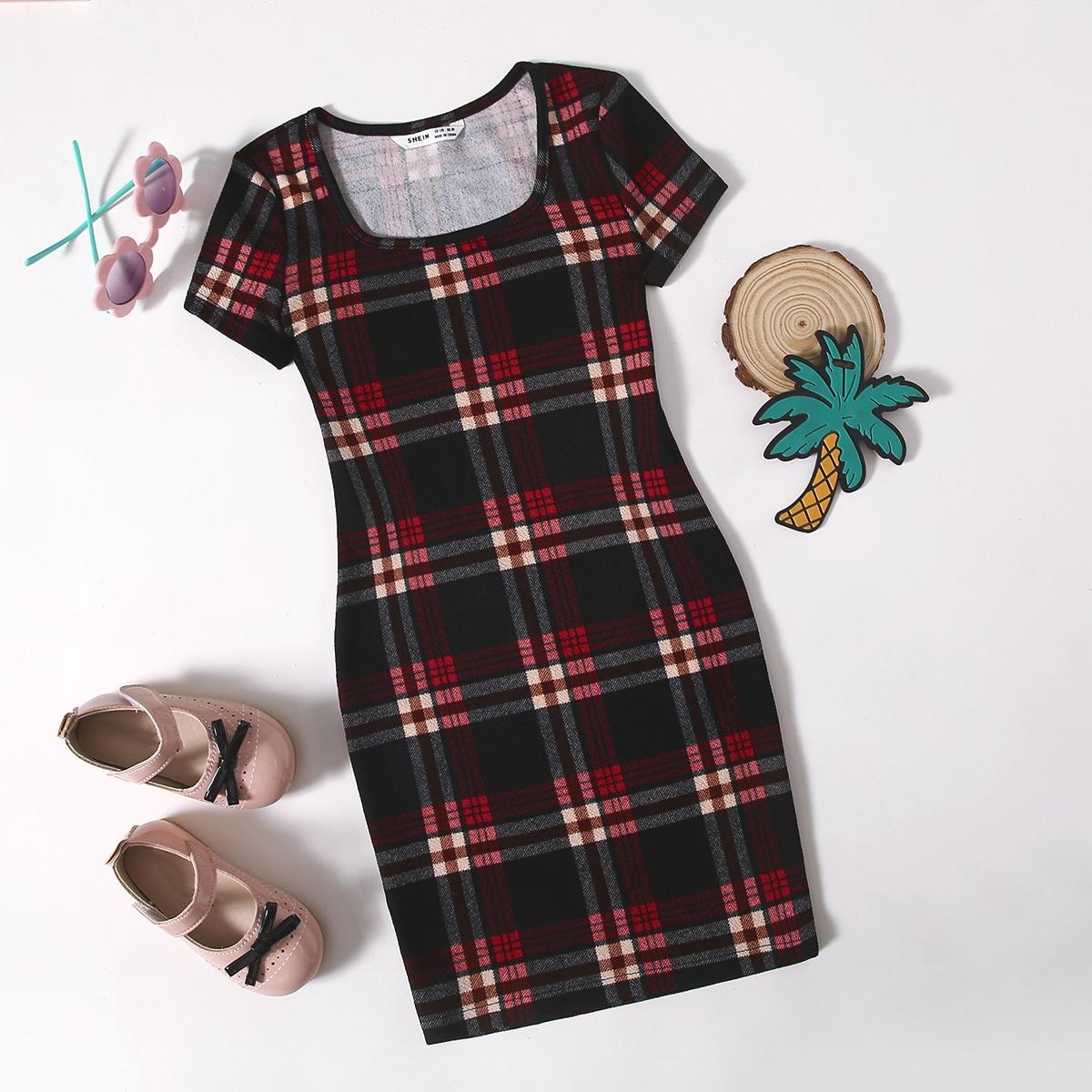 Платье в клетку для девочек по цене 340