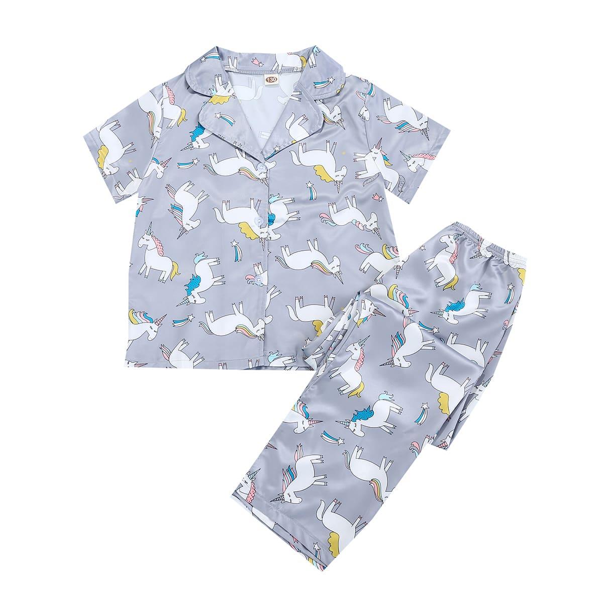 Пижама с принтом единорога и лацканами для девочек по цене 1 120