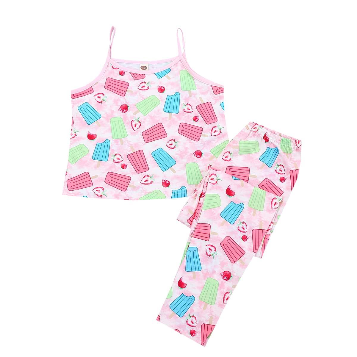 Пижама на бретельках с принтом клубники для девочек по цене 714