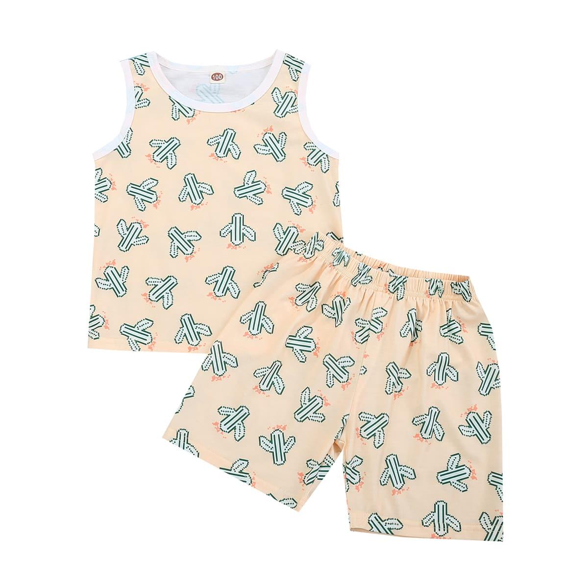 Контрастная отделка Растения Повседневный Домашняя одежда для мальчиков