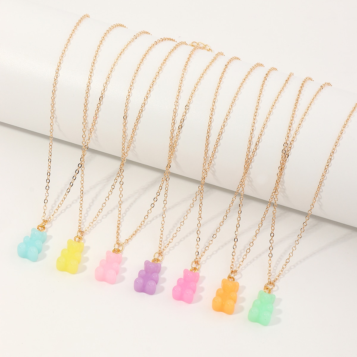 7pcs Girls Bear Charm Necklace