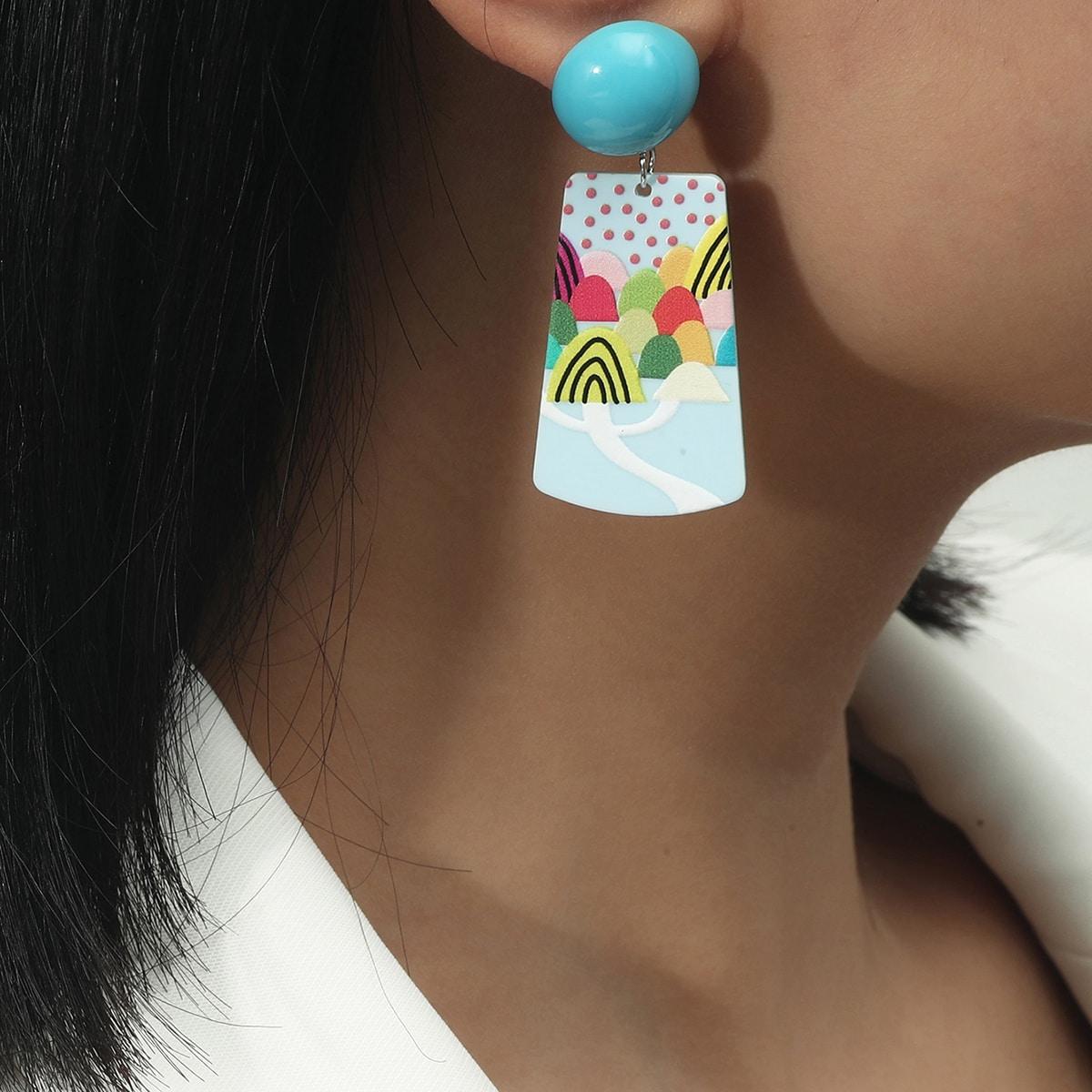 Landscape Design Geometric Drop Earrings