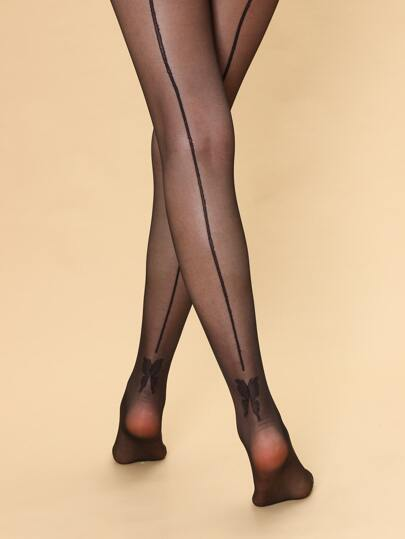 Black Tights with Butterfly Pattern Onesize by Blossom
