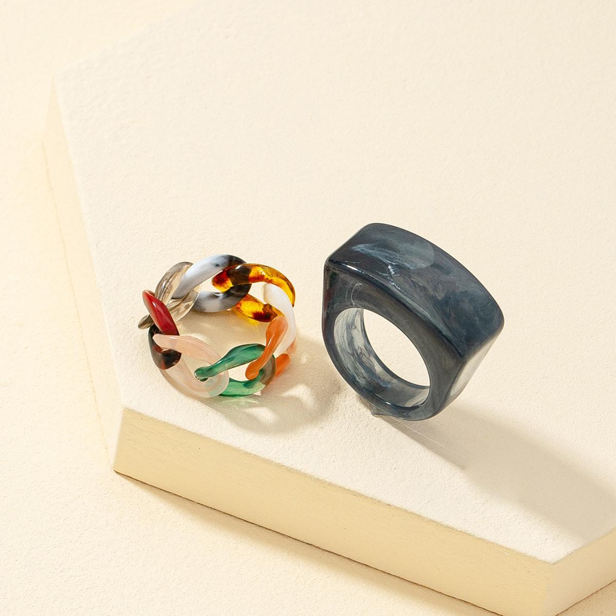 2шт контрастное кольцо в форме цепочки по цене 130