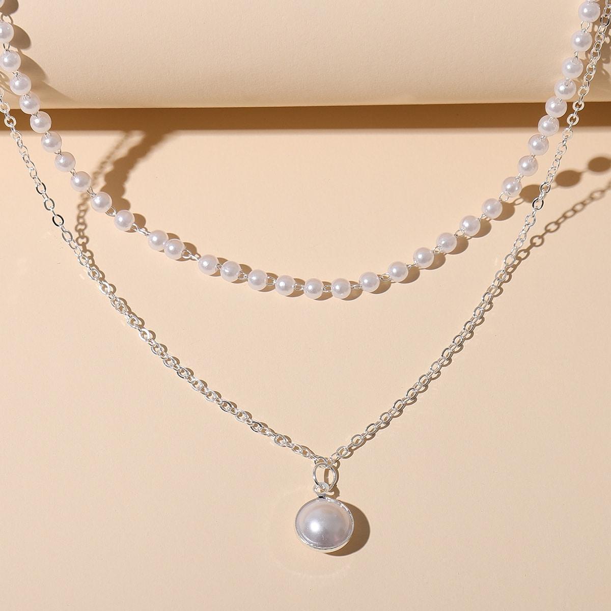 Ожерелье с искусственным жемчугом по цене 90