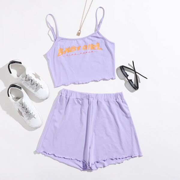 Letter Graphic Lettuce Edge Cami Top and Shorts Set, Pastel lilac purple