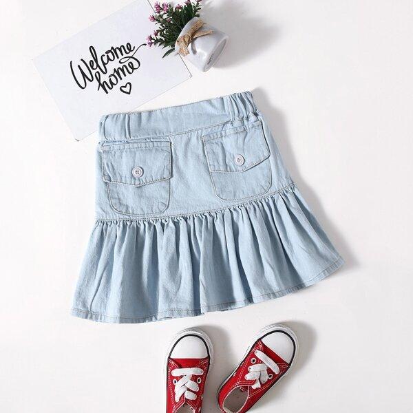 Toddler Girls Flap Pockets Ruffle Hem Denim Skirt, Light wash